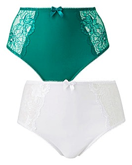 2 Pack Ella Lace Emerald/White Briefs