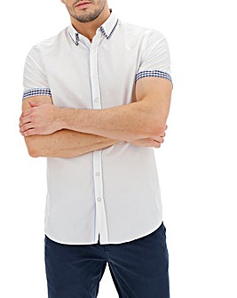 White Check Double Collar Short Sleeve Shirt Long