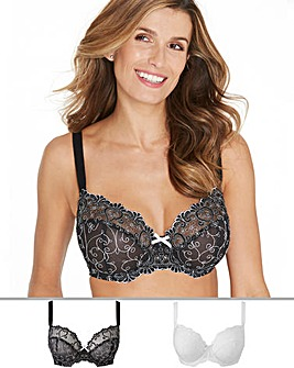 Pretty Secrets Emma 2 Pack Black/White Full cup Bras