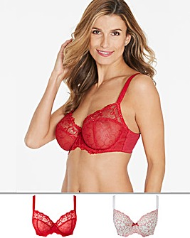 Pretty Secrets Emma 2 Pack Red/White Full cup Bras