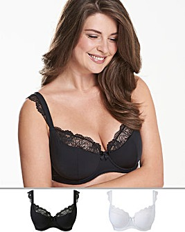 Pretty Secrets 2Pack Ella Lace Cap Sleeve Balcony Black/White Bras