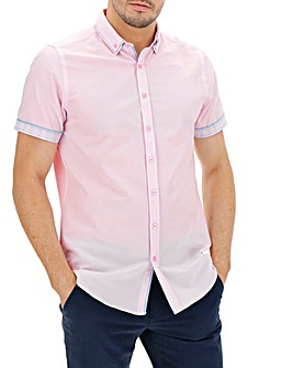 Pink Check Double Collar Shirt Long