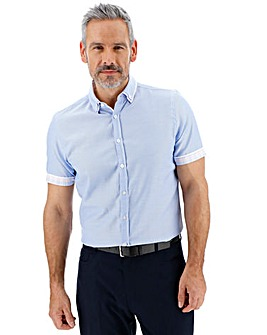 Blue Check Double Collar Shirt Long