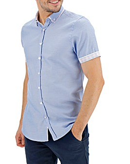 Light Blue Check Double Collar Short Sleeve Shirt Long