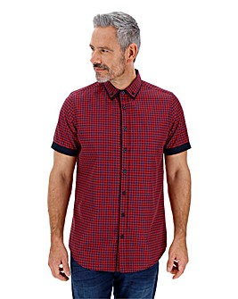Red/Blue Check Double Collar Shirt Long