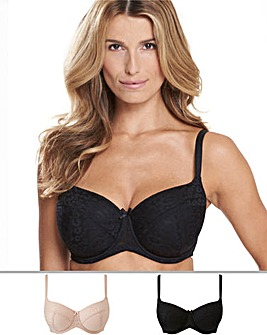 Pretty Secrets 2 Pack Animal Mesh Blush/Black Padded Balcony Bras