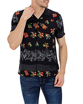 Navy Floral Print Short Sleeve Revere Collar Shirt Long