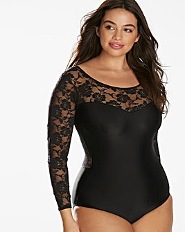 Long Sleeve Floral Mesh Control Body