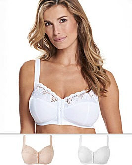 Naturally Close Elana 2 Pack Blush/White Front Fastening Full Cup Bra