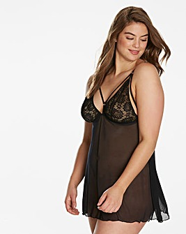 Simply Be By Night Blk Strappy Babydoll