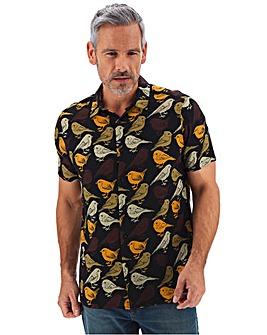Black Short Sleeve Bird Print Shirt Long