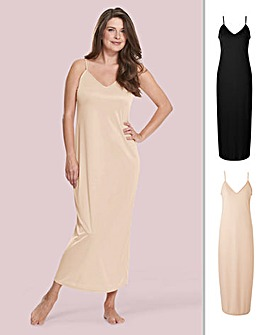 Naturally Close 2 Pack Black/Blush Maxi Petticoat Slip