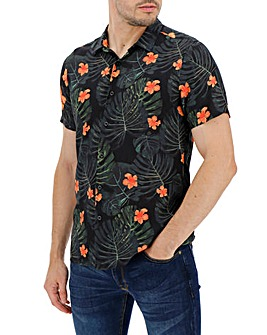 Dark Floral Short Sleeve Shirt Long