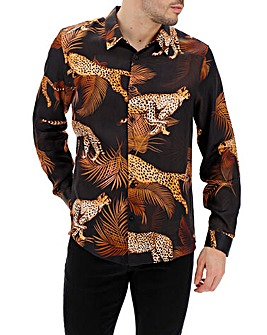 Animal Print Sateen Long Sleeve Shirt Long