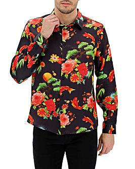 Floral Print Sateen Long Sleeve Shirt Long