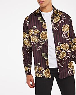 Oriental Print Sateen Long Sleeve Shirt Long
