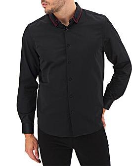 Black Double Collar Sateen Shirt Long