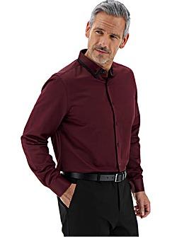 Wine Double Collar Sateen Shirt Long