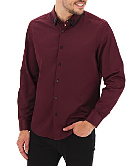 Wine Double Collar Sateen Shirt Long