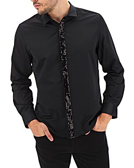 Black Sequin Placket Shirt Long