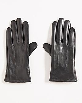 Black Leather Fleece Lined Gloves