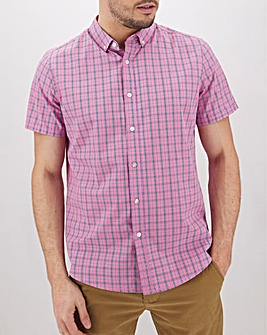 Pink Check Short Sleeve Shirt Long