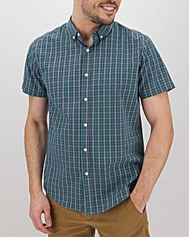 Teal Check Short Sleeve Shirt Long