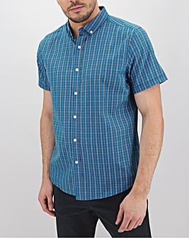 Blue Check Short Sleeve Shirt Long