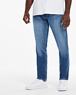 Mid Wash Premium Tapered Jeans