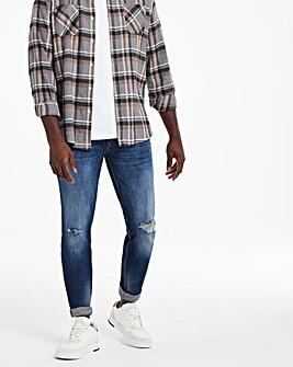 Indigo Wash Skinny Rip & Repair Jeans