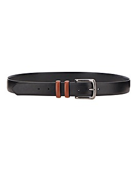 Black Leather Contrast Buckle Belt