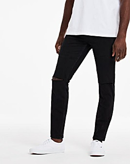 Black Skinny Fit Stretch Ripped Jeans