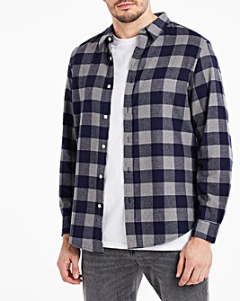 Navy Check Button Down Collar Flannel Shirt