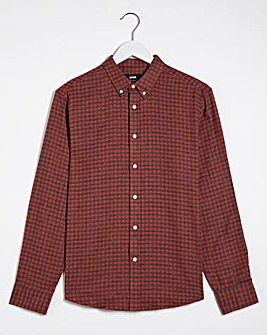 Red Button Down Collar Flannel Shirt