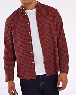Red Check Button Down Collar Flannel Shirt