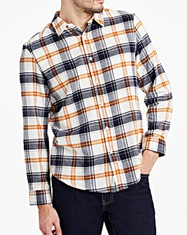 White Button Down Collar Flannel Shirt
