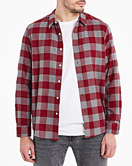 Wine Button Down Collar Flannel Shirt