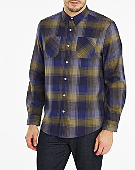 Denim Check Double Pocket Flannel Shirt