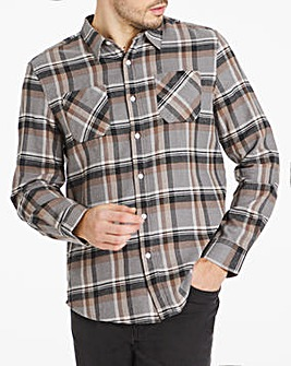 Grey Check Double Pocket Flannel Shirt