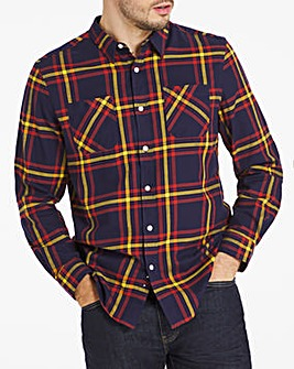 Navy Check Double Pocket Flannel Shirt