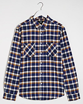 Navy/Tan Double Pocket Flannel Shirt