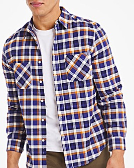 Navy/Tan Check Double Pocket Flannel Shirt