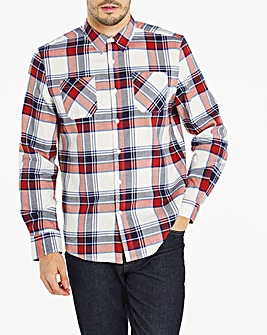 Red Double Pocket Flannel Shirt