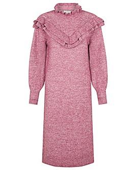 Monsoon Ruffle Detail High Neck Dress