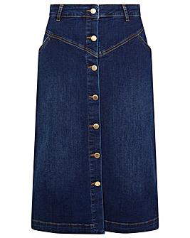 Monsoon Denim Button Through Midi Skirt