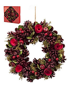 Red Rose and Pinecone Wreath 30cm