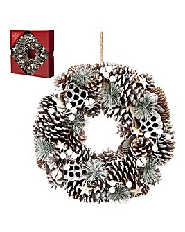 White Pinecone and Berries Wreath 36cm