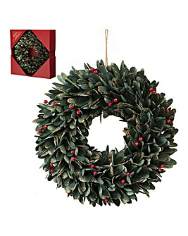 Green Leaf and Red Berries Wreath 36cm