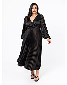 Lovedrobe Luxe Black Pleated Midi Dress