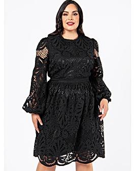 Lovedrobe Luxe Black Lace Midi Dress